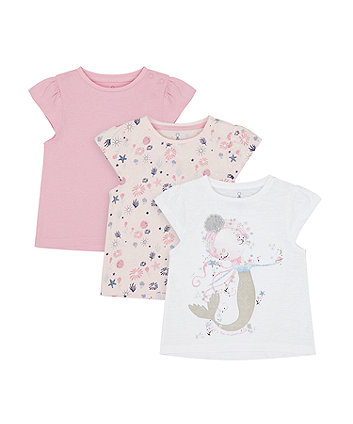 Mothercare Mermaid T-Shirts - 3 Pack