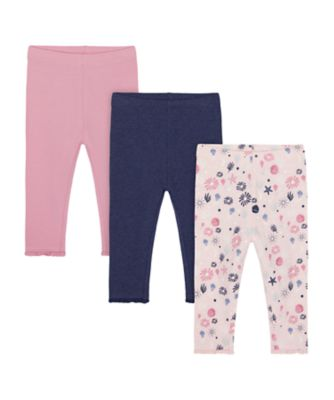 Mothercare Save Our Seas Allover Print, Pink And Blue Leggings - 3 Pack