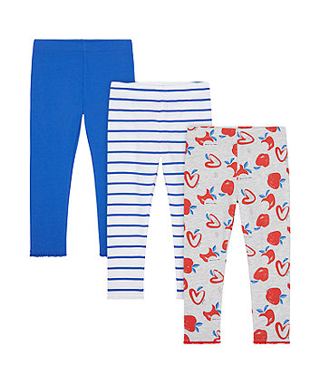 Mothercare Apple, Stripe And Blue Leggings - 3 Pack
