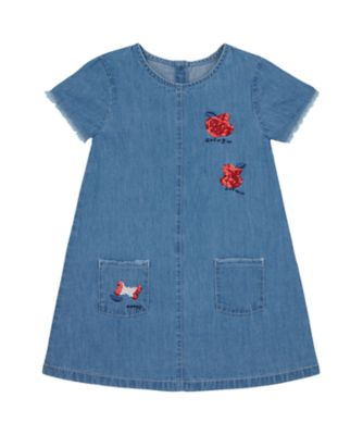 Mothercare Apple Of My Eye Denim Badge Short Sleeve Dress