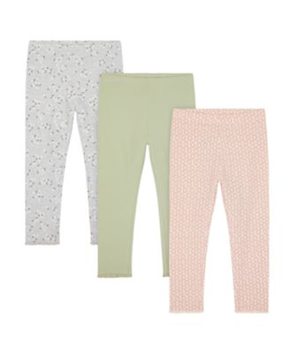 Mothercare Sienna Skies Floral, Allover Print And Khaki Leggings - 3 Pack