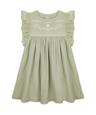 Mothercare Sienna Skies Khaki Woven Dress White Detailing