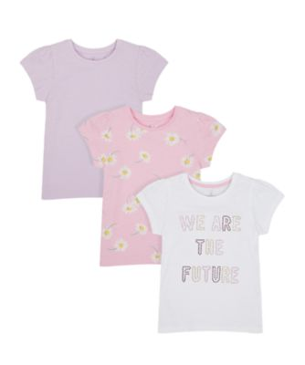 Mothercare Flower Power Spot, Floral And Pink Short Sleeve T-Shirt - 3 Pack