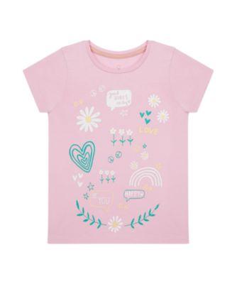 Mothercare Flower Power Pink Badge Uber Short Sleeve T-Shirt
