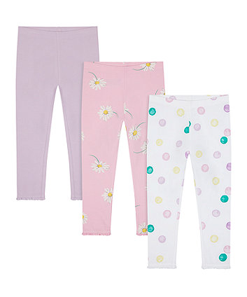 Mothercare Lilac, Spot And Daisy Leggings - 3 Pack