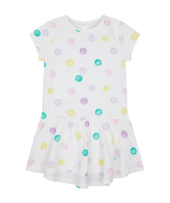 Mothercare Flower Power White Spot Epp Jersey Dress