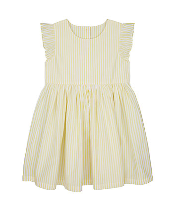 Mothercare Yellow Striped Woven Dress