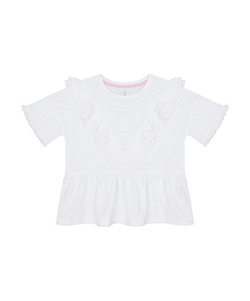 Mothercare White Frill T-Shirt