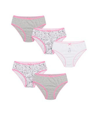 Mothercare Girls Rabbit Monochrome Briefs - 5 Pack