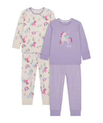 Mothercare Girls Party Horse Pyjamas - 2 Pack