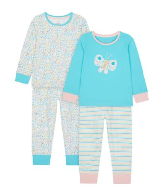 Mothercare Girls Butterfly Pyjamas - 2 Pack