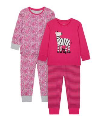 Mothercare Girls Zebra Pyjamas - 2 Pack