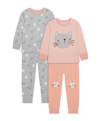 Mothercare Girls Cat Face Pyjamas - 2 Pack