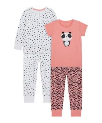 Mothercare Girls Panda Mixed Sleeve - 2 Pack