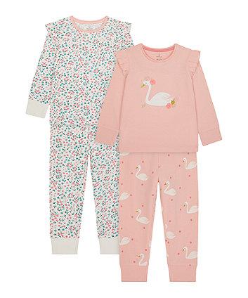 Mothercare Swan Frill Pyjamas - 2 Pack