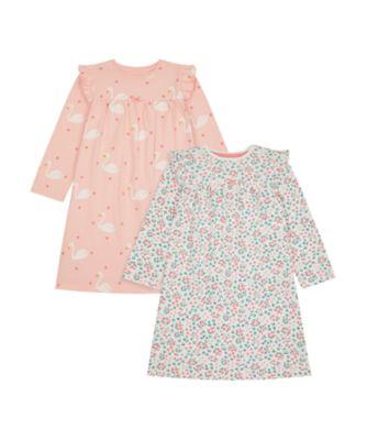 Mothercare Girls Pink Swan Nightie - 2 Pack
