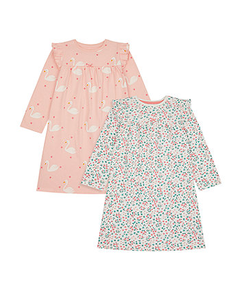 Mothercare Swan Nightdresses - 2 Pack