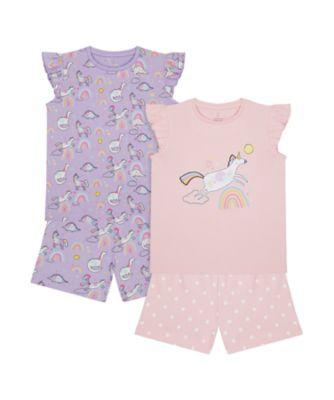 Mothercare Girls 2Pk Party Horse Rainbow Shortie Pyjamas - 2 Pack