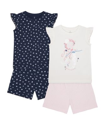 Mothercare Girls 2Pk Mermaid Shortie Pyjamas - 2 Pack