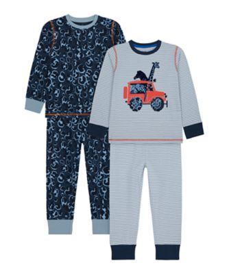Mothercare Boys Animal Safari Pyjamas - 2 Pack