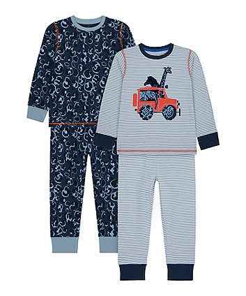 Mothercare Animal Safari Pyjamas - 2 Pack