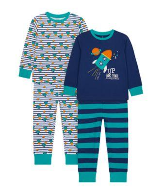 Mothercare Boys Rocket Pyjamas - 2 Pack