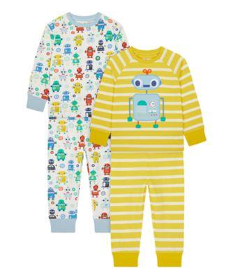 Mothercare Boys Robot Pyjamas - 2 Pack