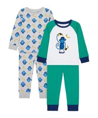 Mothercare Boys Monkey Banana Pyjamas - 2 Pack