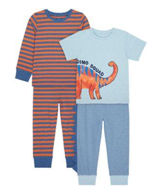 Mothercare Boys Dino Mixed Sleeve Pyjamas - 2 Pack