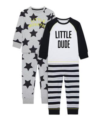 Mothercare Boys Little Monster Pyjamas - 2 Pack