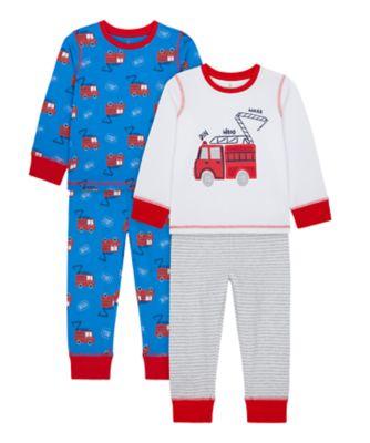 Mothercare Boys Fire Engine Pyjamas - 2 Pack