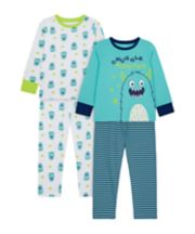 Mothercare Snuggle Monster Wide-Leg Pyjamas - 2 Pack