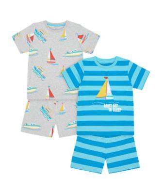 Mothercare Boys 2Pk Drift Off To Sleep Shortie Pyjamas - 2 Pack