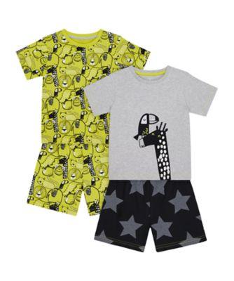 Mothercare Boys 2Pk Jungle Shortie Pyjamas - 2 Pack