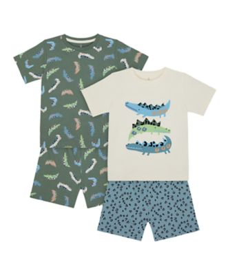 Mothercare Boys 2Pk 3 Croco Shortie Pyjamas - 2 Pack