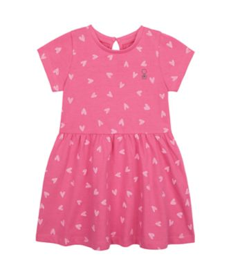 Mothercare Wardrobe Essentials Pink Allover Print Short Sleeve Dress
