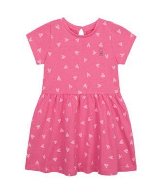 Mothercare Wardrobe Essentials Pink Allover Print Short Sleeve Dress