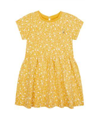 Mothercare Wardrobe Essentials Ditsy Mustard Short Sleeve Dress