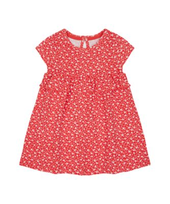 Mothercare Swan Lake Red Ditsy Empire Jersey Dress