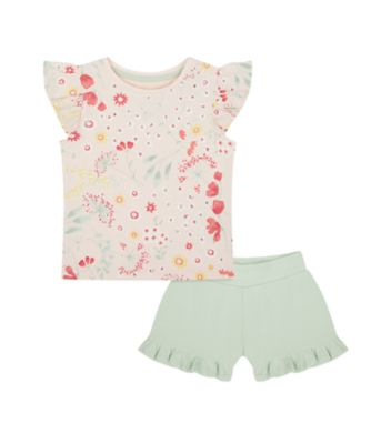 Mothercare Spring Meadow Pink Floral T-Shirt And Khaki Short Set
