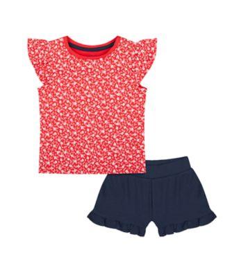 Mothercare Swan Lake Red Ditsy T-Shirt And Navy Short Set