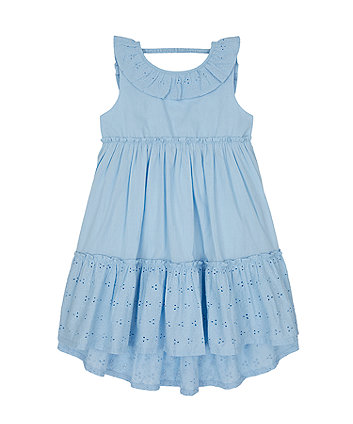 Mothercare Blue Broderie Tiered Maxi Dress
