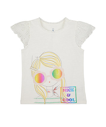 Mothercare Nice And Cool Broderie-Sleeve T-Shirt