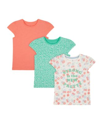 Mothercare Urban Cowgirl Allover Print, Green And Pink T-Shirt - 3 Pack