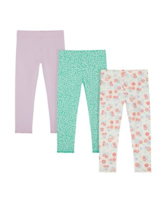 Mothercare Urban Cowgirl Allover Print, Green And Pink Leggings - 3 Pack