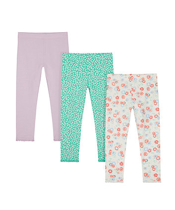 Mothercare Pink And Floral Leggings - 3 Pack