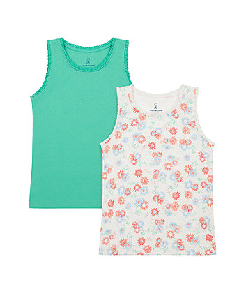 Mothercare Green And Floral Vest T-Shirts - 2 Pack