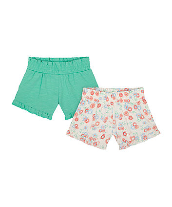 Mothercare Floral And Green Shorts - 2 Pack