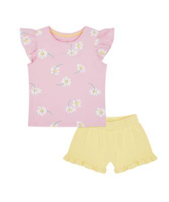 Mothercare Flower Power Daisy T-Shirt And Mustard Short Set