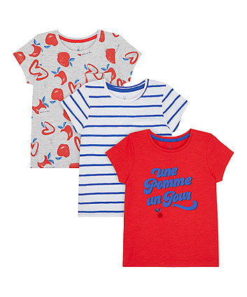Mothercare Une Pomme T-Shirts - 3 Pack
